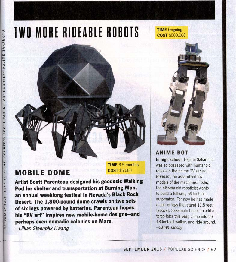 Sidebar: Walking Pod - How 2.0, Popular Science, September 2013